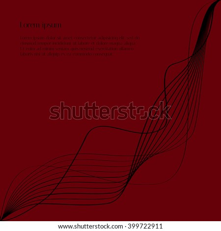 Abstract black lines on red background with text. Vector background for design magazines and leaflets - stock vector