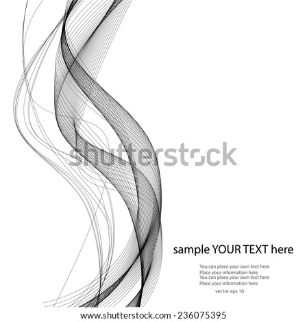 Abstract black lines on wait background - stock vector