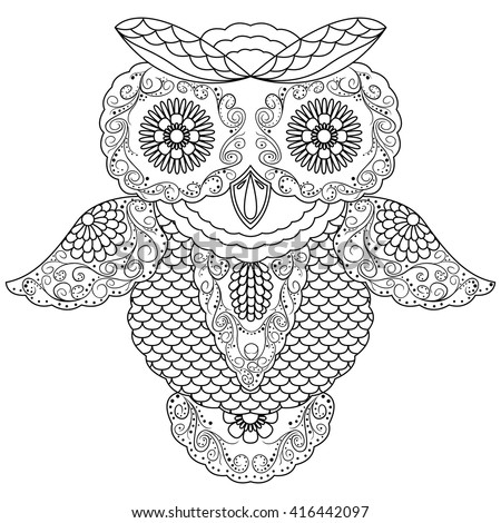 Abstract Black Ornamental Outline Big Owl Stock Vector 416442097