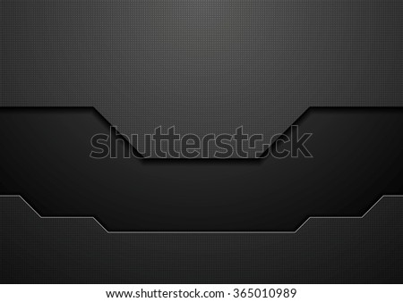 Abstract black technology concept design. Vector template background - stock vector