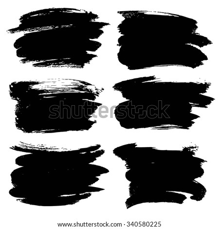 Abstract black thick smear of paint isolated on a white background
