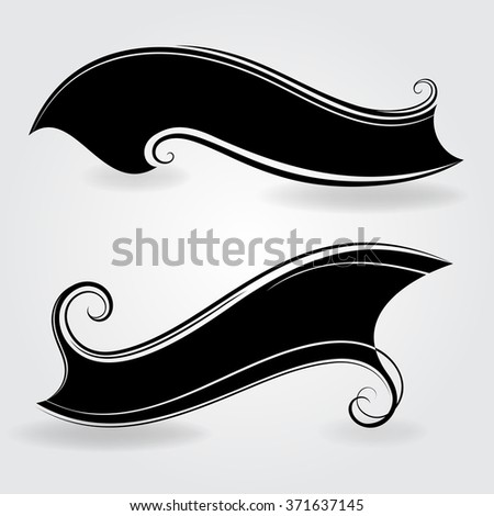 Abstract black vintage banner shapes vector template. - stock vector