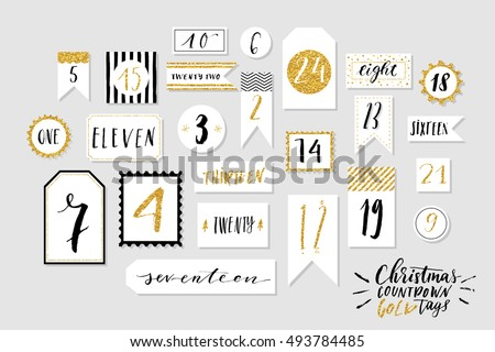 Abstract black, white and golg colored twenty four christmas countdown printable tags collection. Count down till christmas kit. Advent calendar. Vector illustration