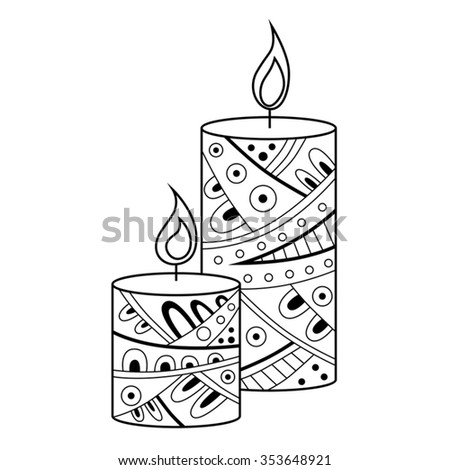 Abstract black white candle pattern illustration vector - stock vector