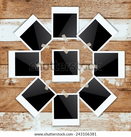 Abstract blank photo frame stick on vintage wooden background. Vector illustration. - stock vector