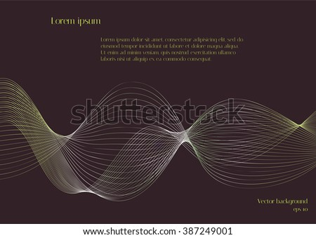 Abstract blend green waves for design magazines. Brown vector background - stock vector
