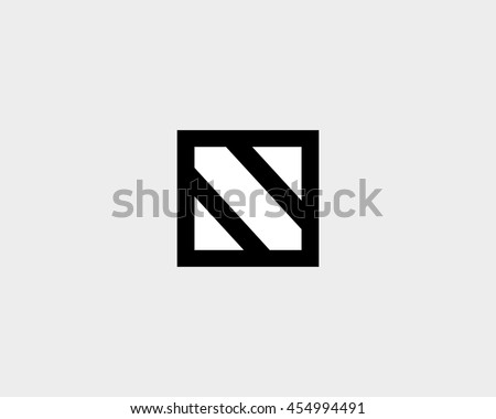 Abstract Block Letter N Logo Design Stock Vector 454994491