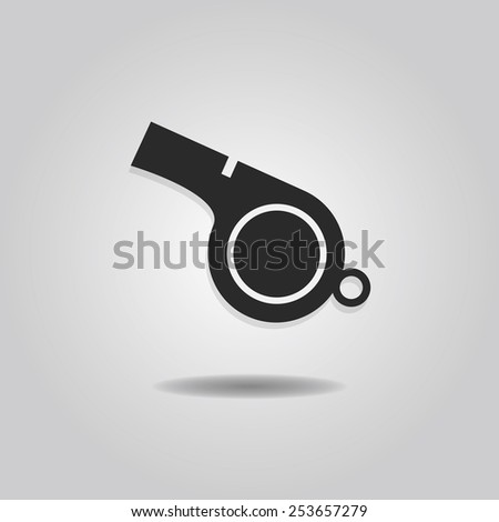 Abstract blowing whistle icon with dropped shadow on gray gradient background - stock vector