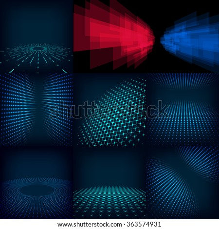 abstract blue and cyan vector background posters Template with gradient, circles and dots effect. Includes flares, mesh and halftone. Design pattern promotion, business and marketing glow illustration - stock vector