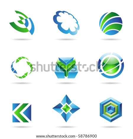 Abstract blue and green Icon Set isolated on a white background - stock vector