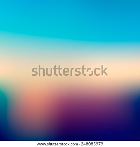 Abstract blue and green nature colored blurred background - stock vector