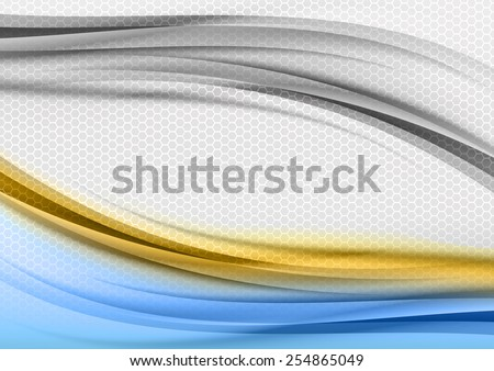 Abstract blue and orange background with grey hexagon. - stock vector