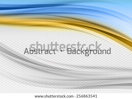 Abstract blue and orange background with grey hexagon. Vector design. - stock vector