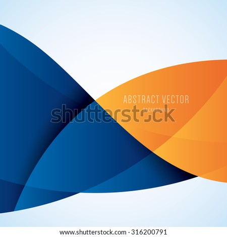 Abstract blue and orange modern wave vector background - stock vector