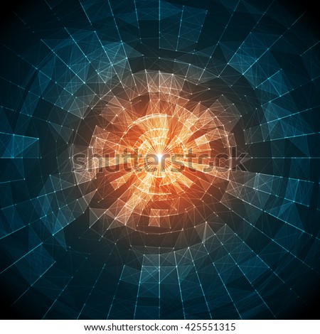 Abstract Blue and Orange Vector Mesh on Colorful Background - Futuristic UX Background - Elegant Background for Business Presentations - stock vector