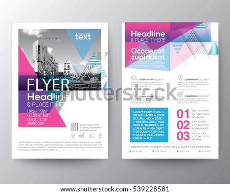 Abstract Blue And Pink Geometric Background For Poster Brochure Flyer Design Layout Vector Template In A4