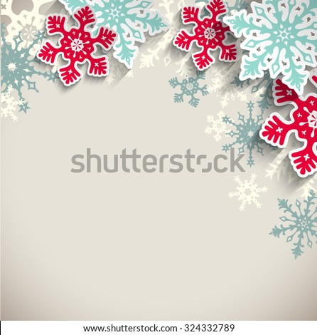 Abstract blue and red snowflakes  with 3d effect on beige background, winter or christmas concept, vector illustration, eps 10 with transparency - stock vector