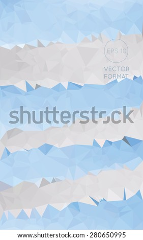 Abstract blue and white triangular low poly style vector background,Vector illustration