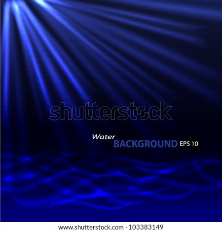 Abstract blue background. Glowing grid. Underwater. - stock vector