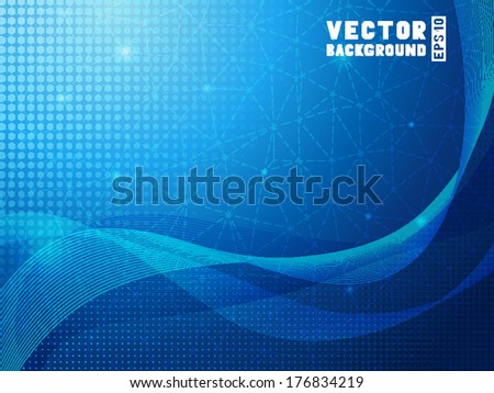 Abstract blue background. Horizontal pattern of geometric shapes with place for your text. Retro triangle background. - stock vector