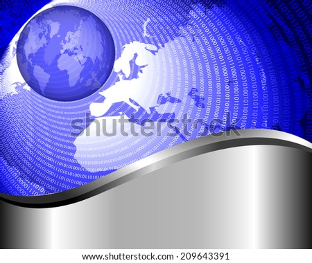 Abstract blue background with a map of the earth and binary code - stock vector