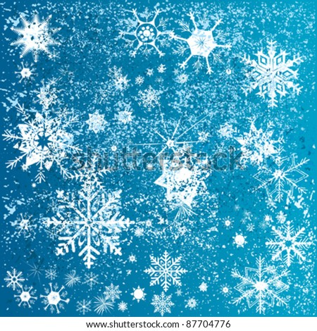 abstract blue background with christmas snowflakes - stock vector