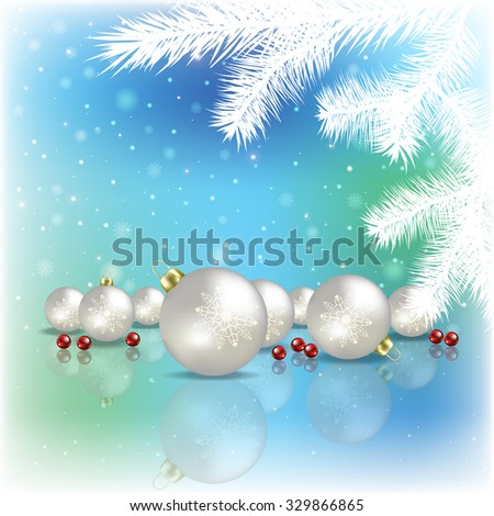 Abstract blue background with Christmas tree and white decorations - stock vector