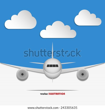 Abstract blue background with clouds and landing airplane for your design - stock vector