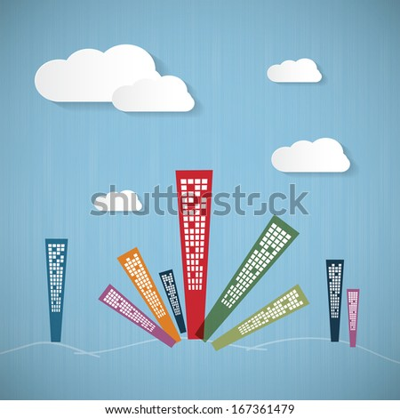 Abstract Blue Background with Clouds and Skyscrapers - stock vector