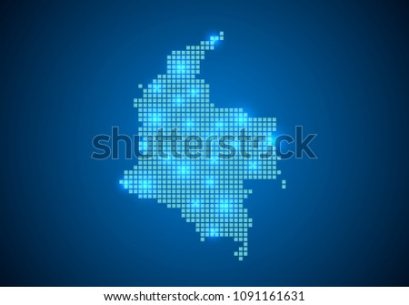 Abstract Blue Background Colombia Map Internet Stock Photo (Photo ...