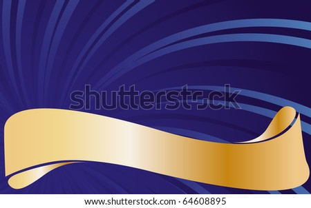 Abstract blue background with golden type. Vector illustration. - stock vector