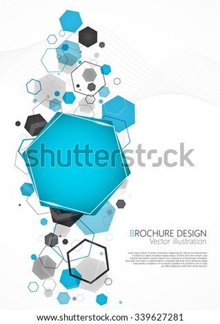 Abstract blue background with hexagon. Vector Illustration. Clip-art - stock vector