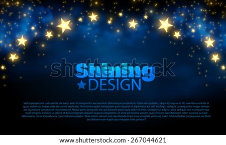 Abstract blue background with shining stars. Vector illustration  - stock vector