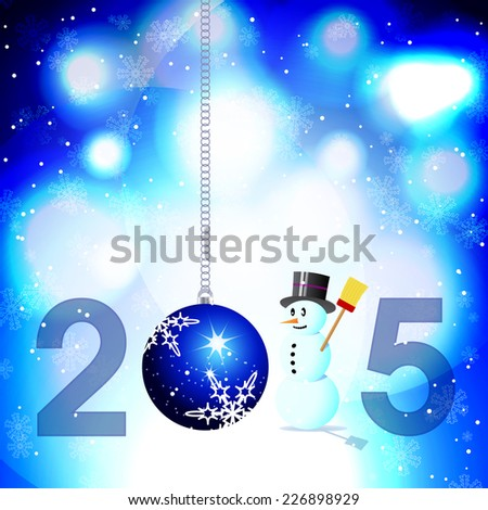 Abstract blue background with snowman and Christmas bauble for year 2015 - stock vector
