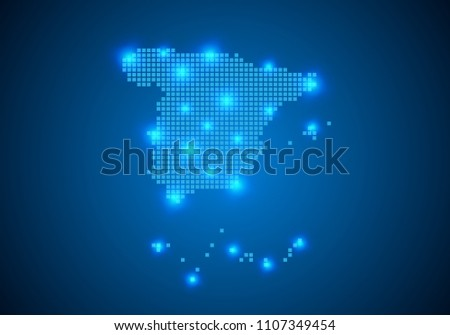 Abstract Blue Background Spain Map Internet Stock Vector HD (Royalty ...