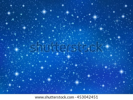 Abstract Blue background with sparkling twinkling stars. Cosmic shiny galaxy (atmosphere). Holiday blank backdrop texture for Christmas (Xmas), Happy New Year , glow milky way elements (fantasy sky) - stock vector