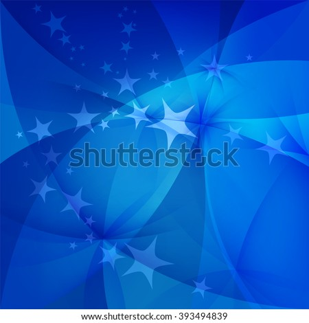 Abstract blue background with stars - stock vector