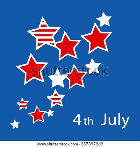 Abstract blue background with stars to the US Independence Day. Vector illustration. - stock vector