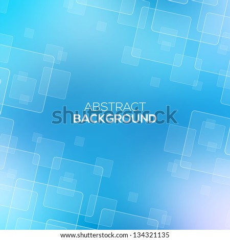Abstract Blue background with transparent squares. - stock vector