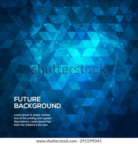 Abstract blue background with triangles. Abstract polygonal space low poly dark background with connecting dots and lines. Polygonal vector background. Futuristic HUD background. - stock vector