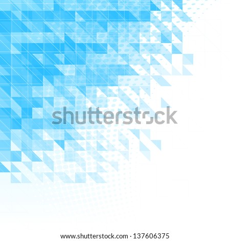 abstract blue background with triangles, squares and lines - stock vector