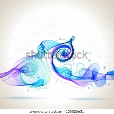 Abstract blue background with wave for design, Vector - stock vector