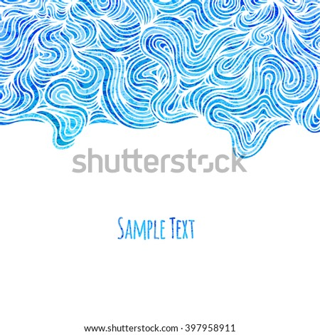 Abstract blue background with wave pattern, vector illustration