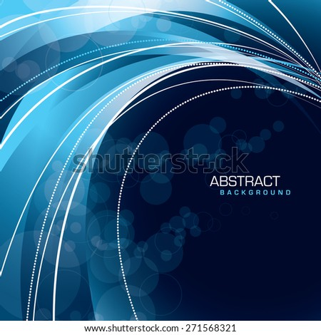 Abstract blue background with wavy lines. - stock vector