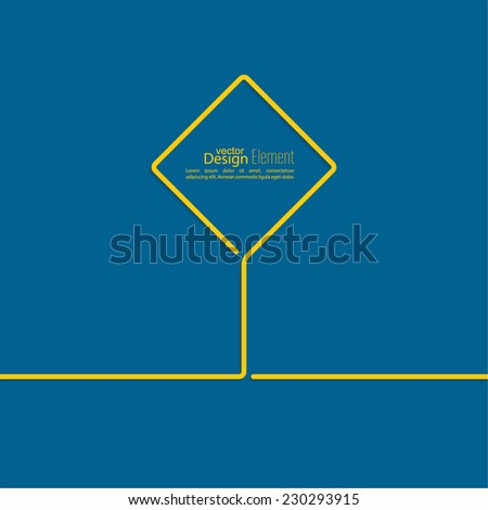 Abstract blue background with yellow signs. Road sign. Warning. blank space for advertising, ads, text - stock vector