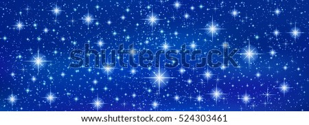 Abstract Blue banner background with sparkling twinkling stars. Cosmic shiny galaxy. Holiday blank backdrop texture for Christmas (Xmas), Happy New Year , glow milky way elements (fantasy sky)
