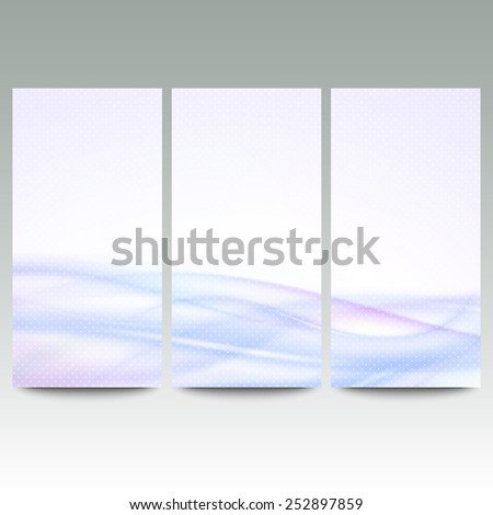 Abstract blue banners set, wave vector design. - stock vector