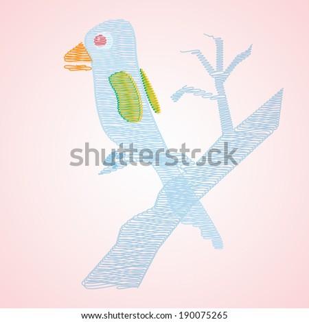 Abstract blue bird on tree. Vector EPS 10. - stock vector