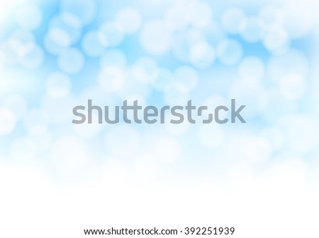 Abstract blue bokeh background with blurred light effects. Glowing light in blue sky abstract horizontal backdrop as decoration design element. vector illustration - stock vector