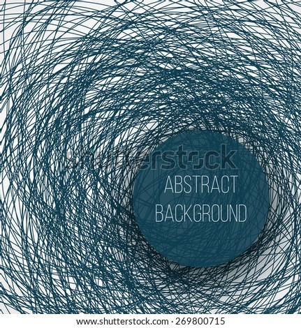 Abstract blue chaotic sketch lines background and circle banner with shadow. Vector illustration - stock vector